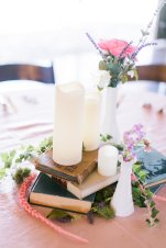 Vintage Books with Milk Glass Vases
