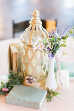 Vintage Books with Milk Glass Vases
