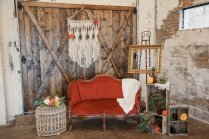 Scarlett Love Seat, Crates, Brown Bottles, Cream Basket, Macrame